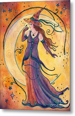 Whimsical Evening Witch Metal Print by Renee Lavoie