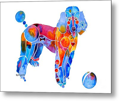 Whimsical French Poodle Metal Print by Jo Lynch