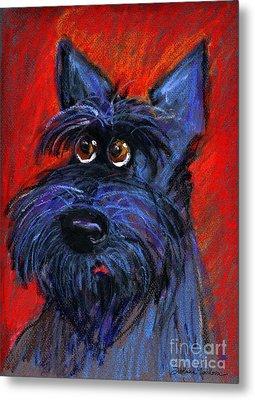 whimsical Schnauzer dog painting Metal Print by Svetlana Novikova
