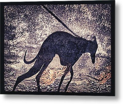 Whippet Silhouette Metal Print by John Clum