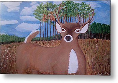 Whit Tall Buck Metal Print by  Richard  Rollings