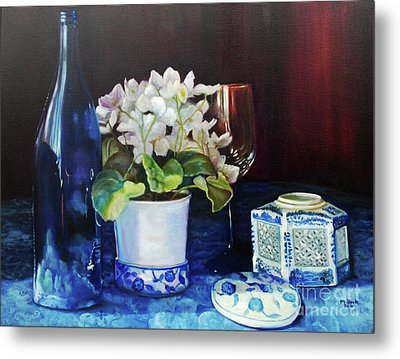 White African Violets Metal Print by Marlene Book