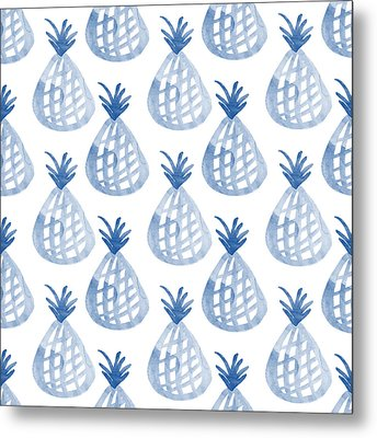 White And Blue Pineapple Party Metal Print by Linda Woods