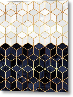 White And Navy Cubes Metal Print by Elisabeth Fredriksson