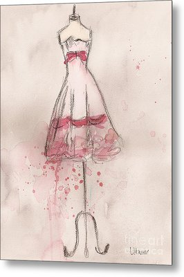 White And Pink Party Dress Metal Print by Lauren Maurer