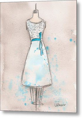 White And Teal Dress Metal Print by Lauren Maurer
