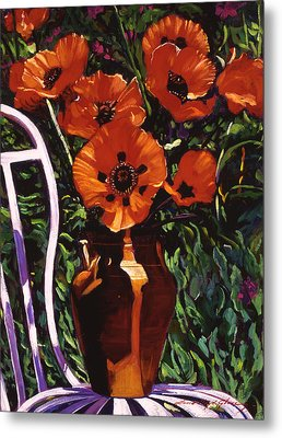 White Chair, Red Poppies Metal Print by David Lloyd Glover