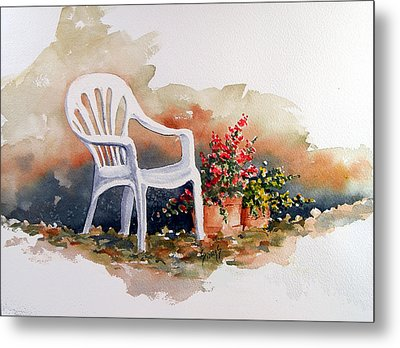White Chair With Flower Pots Metal Print by Sam Sidders