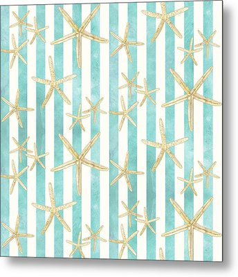 White Finger Starfish Watercolor Stripe Pattern Metal Print by Audrey Jeanne Roberts