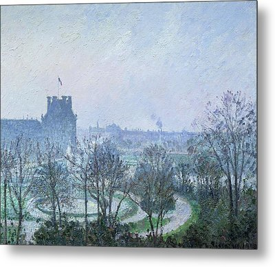 White Frost Jardin Des Tuileries Metal Print by Camille Pissarro