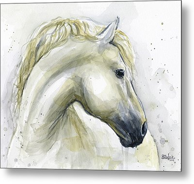 White Horse Watercolor Metal Print by Olga Shvartsur