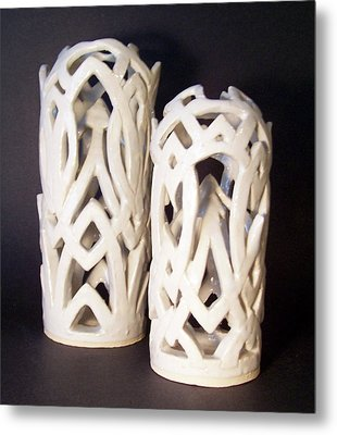 White Interlaced Sculptures Metal Print by Carolyn Coffey Wallace