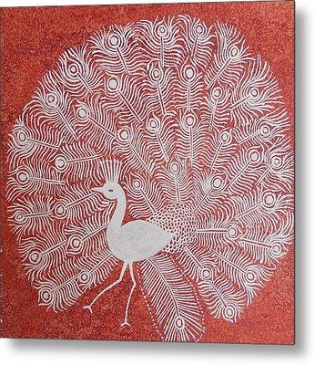 White Peacock Dance- Original Warli Painting Metal Print by Aboli Salunkhe
