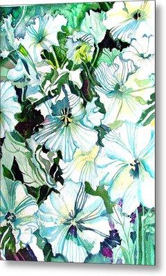 White Petunias Metal Print by Mindy Newman