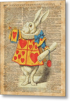 White Rabbit With Trumpet Alice In Wonderland Vintage Dictionary Artwork Metal Print by Jacob Kuch