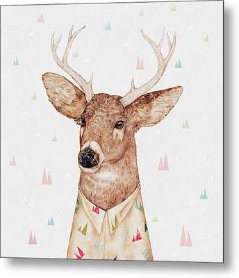 White Tailed Deer Square Metal Print by Animal Crew
