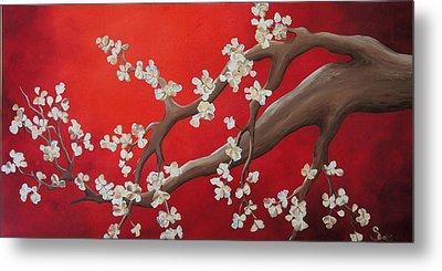 White Tree Blossoms Metal Print by Shiela Gosselin