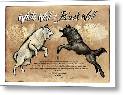 White Wolf Black Wolf Metal Print by Christopher Panza