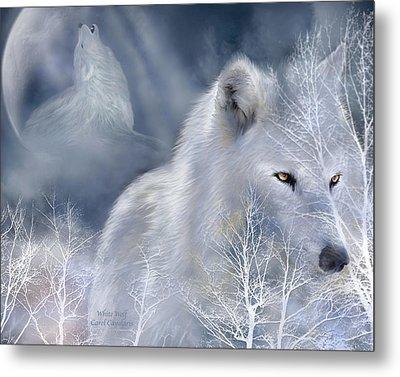 White Wolf Metal Print by Carol Cavalaris