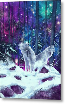White Wolves Metal Print by Bekim Art