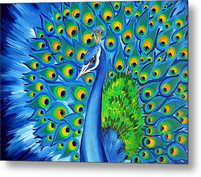 Wild And Free-peacock Metal Print by Cathy Jacobs