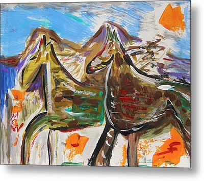 Wild Horses From The Hills Metal Print by Mary Carol Williams
