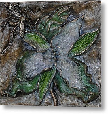 Wild Trillium And Cranefly  Metal Print by Dawn Senior-Trask
