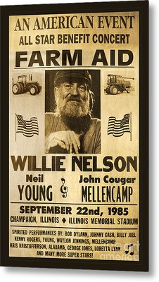 Willie Nelson Neil Young 1985 Farm Aid Poster Metal Print by John Stephens