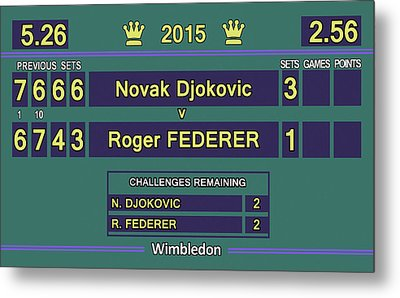 Wimbledon 2015 Final Djokovic V Federer Metal Print by Carlos Vieira