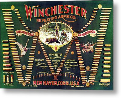 Winchester Double W Cartridge Board Metal Print by Unknown