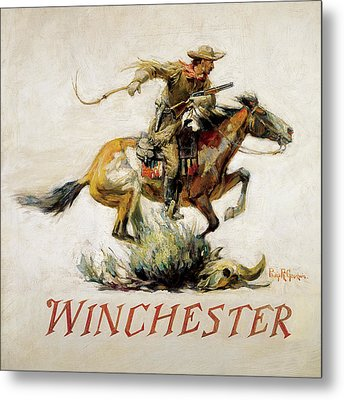 Winchester Horse And Rider  Metal Print by Phillip R Goodwin