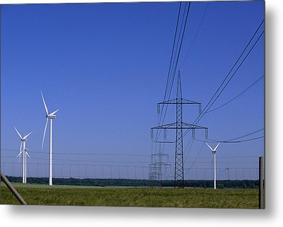 Windmills And High Voltage Transmission Metal Print by Norbert Rosing