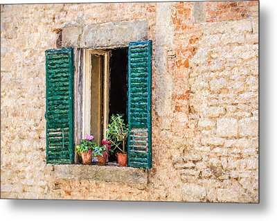 Window Flowers Of Tuscany Metal Print by David Letts