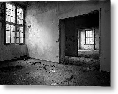 Window To Window - Abandoned School Building Bw Metal Print by Dirk Ercken