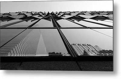 Windows And Reflections Of One W T C  B W Metal Print by Rob Hans