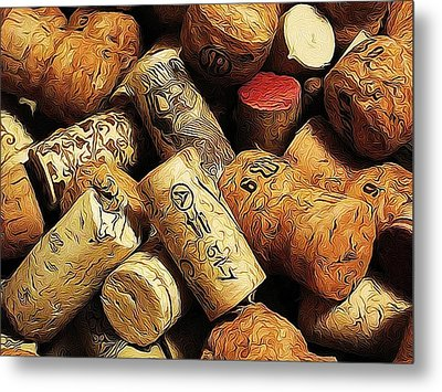 Wine And Champagme Corks Metal Print by Cathie Tyler