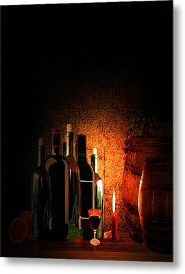 Wine And Leisure Metal Print by Lourry Legarde