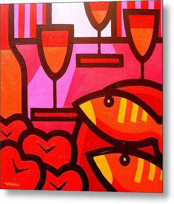 Wine Apples Fish Metal Print by John  Nolan