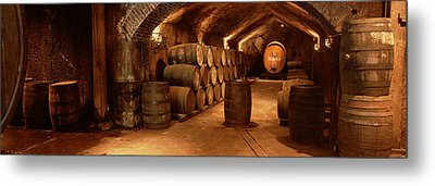 Wine Barrels In A Cellar, Buena Vista Metal Print by Panoramic Images
