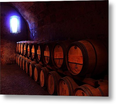 Wine Barrels In Napa Metal Print by Brian M Lumley