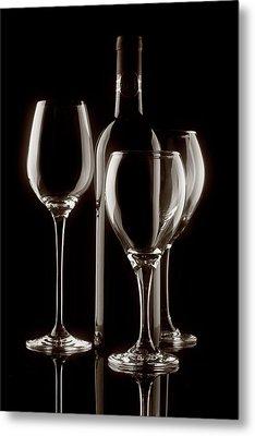 Wine Bottle And Wineglasses Silhouette II Metal Print by Tom Mc Nemar