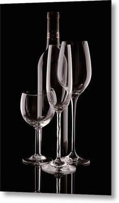 Wine Bottle And Wineglasses Silhouette Metal Print by Tom Mc Nemar