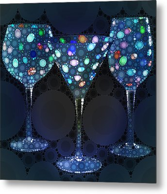 Wine Glass Art-4 Metal Print by Nina Bradica