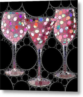 Wine Glass Art-5 Metal Print by Nina Bradica