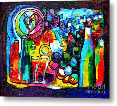 Wine Menagerie Metal Print by Genevieve Esson