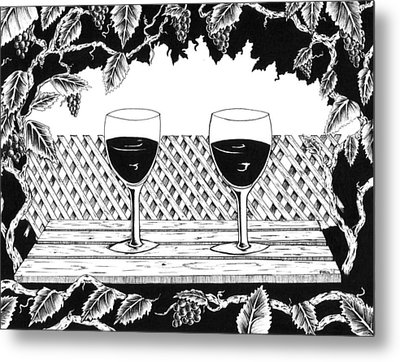 Wine Time Metal Print by Bob Veon