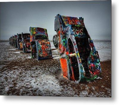 Winter At Cadillac Ranch 001 Metal Print by Lance Vaughn
