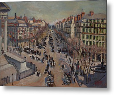 Winter At The Boulevard De La Madeleine, Paris Metal Print by Nop Briex