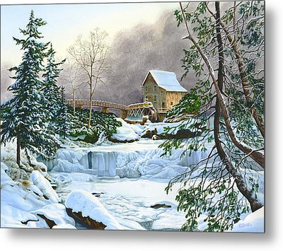 Winter At The Mill Glade Creek Grist Mill West Virginia Metal Print by Richard Devine