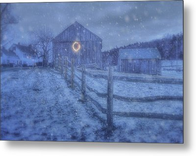 Winter Barn In Snow - Vermont Metal Print by Joann Vitali